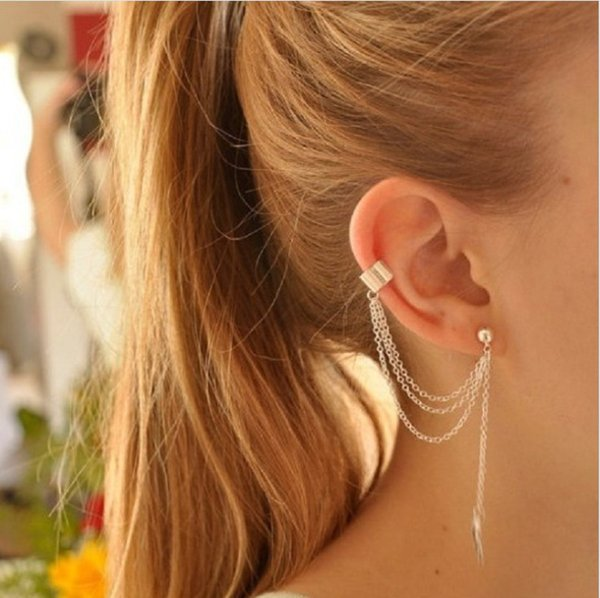 Personality single ear clip metal gold and silver alloy leaves leaves tassel ear clip ear clip