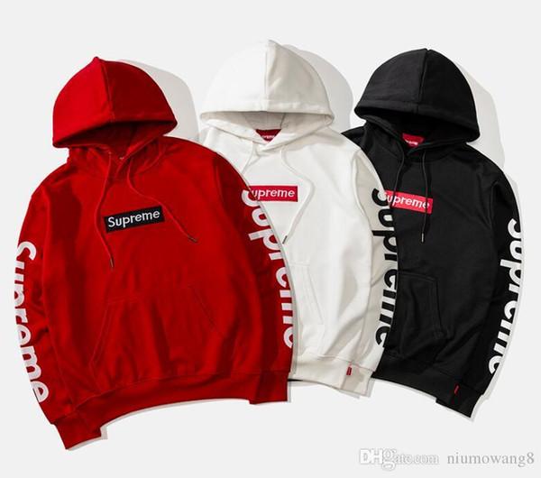 2019 Nouvelles marque hoodie sup + white + reme manches impression classique broderie LOGO sweat-shirt célèbre designer pull vêtements de haute qualité