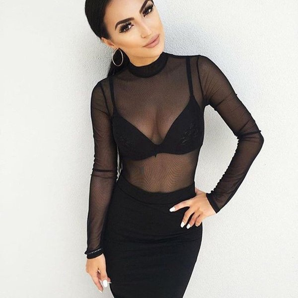 2019 Newest Hot Fashion Sexy Womens Ladies T-Shirts Long Sleeve See-Through Top Clubwear Tulle Mesh Black Pink Red T-Shirt