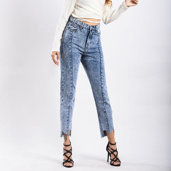 76927ac33 BetiKama Estilo Europeu Jeans Reta Mulheres para Cintura Alta Boyfriend Jeans  Denim Calças Casuais Zíper Femme