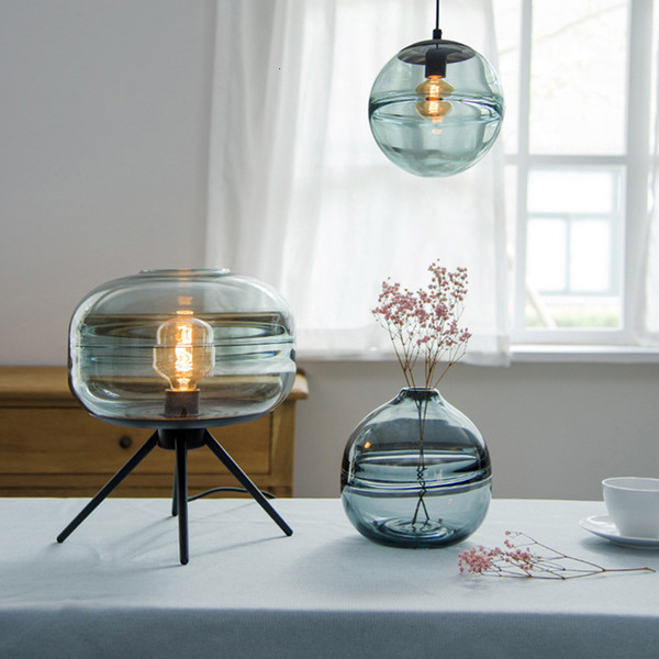 2019 Personality Tripod Design Glass Table Lamps For Living Room Bedroom  Bedside Restaurant Hotel Room Decorative Round Desk Lamps Cyan From ...