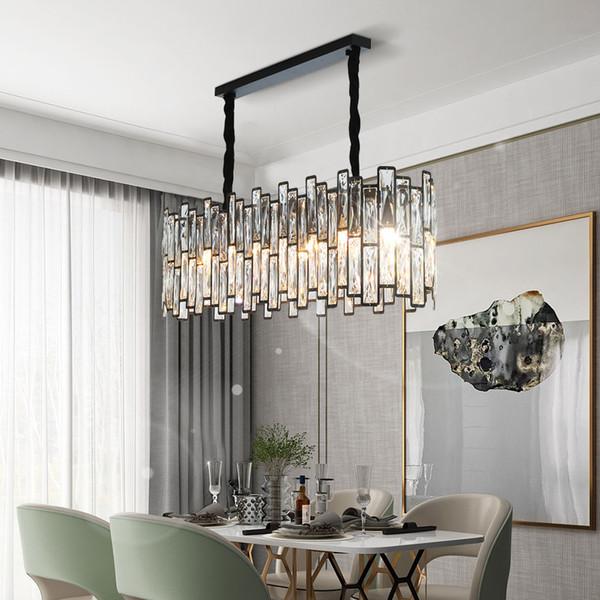 Novo pós-moderno design de retângulo de iluminação lustre de cor preta sala de jantar ilha de cozinha luminárias LED lâmpadas de cristal pendurado