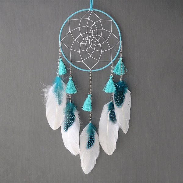 Dream Catcher Hanging Ornaments Tassels Chain Feather Pearl Metal Blue Pink Pendant Friend Lovers Creative Fashion Gift 10 5arD1
