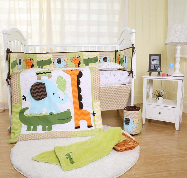 Crib bedding set 10Pcs Cot bedding set for baby Embroidery 3D giraffe elephant crocodile tortoise Baby bedding set Quilt Bumper Blanket.