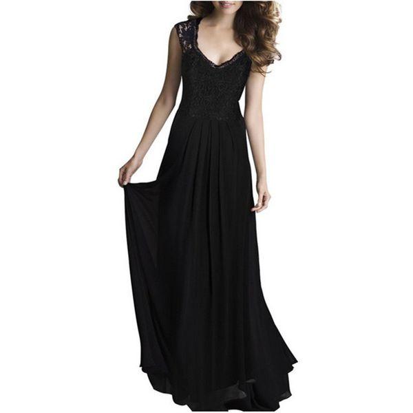Ebay Express 2019 Sommer Frauen neue Spitze Nähen Chiffon ärmellose reine Farbe Kleid Kleid langen Rock