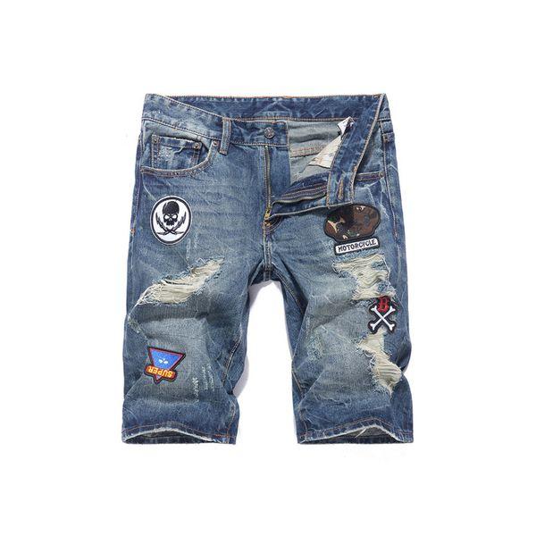 Summer Fashion Men Jeans Shorts Retro Blue Ripped Jeans Men Denim Shorts Streetwear Patches Hip Hop Short Big Size 28-40