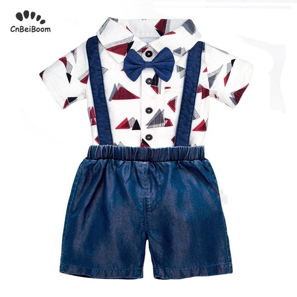 c05a800bc Baby Boy Rompers Short Clothing Sets 2019 New Polo T Shirt + Shorts White  Black Color For Infant Newborn Kids Birthday Clothes J190523