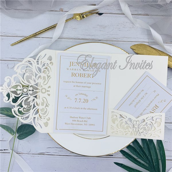 Legant Ivory Laser Cut Ser Cut Wedding Invites Cards Greeting Card Customize Business With Rsvp Cards Decor Party Supplies Wedding Cards Design