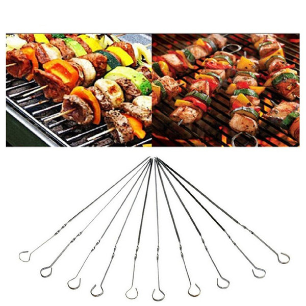 10pcs/pack 38CM Food Camping Picnic Vegetable Needle BBQ Barbecue Stainless Steel Grilling Party Kabob Kebab Flat Lamb Skewers Fork
