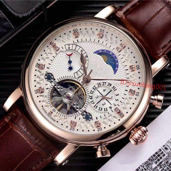 Nueva promoción Relojes de lujo Hombres Reloj de cuero marrón Clásico Relogio Masculino Oro Reloj mecánico automático de cuerda manual Tourbillon