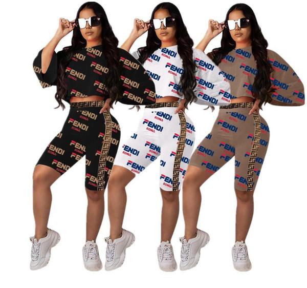 Frauen zweiteilige Shorts Set Sexy FF Digital gedruckt europäischen und amerikanischen sexy Frauen Platz F russischen Buchstaben Gurtband zweiteilig