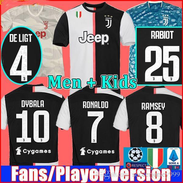 2019 2020 Hayranları Juventus Oyuncu sürümü futbol formaları futbol tişörtleri RONALDO DE LIGT 19 20 üniforma RABIOT DYBALA JUVE maillots de foot