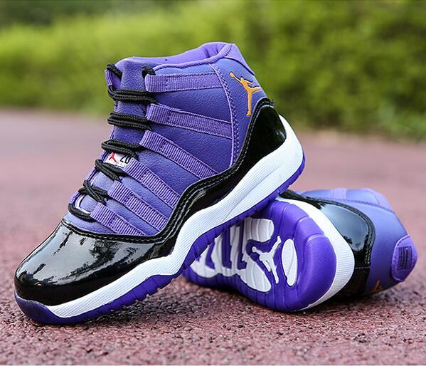 Nouveau 11 Low Space Jam Enfants Sports Basketball Chaussures GS Enfants héritière En Daim Marron Race 11s Sneakers taille 28-35