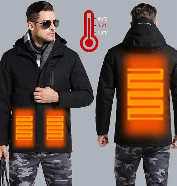 Chauffage USB Veste d'hiver à capuchon hommes coupe-vent imperméable Manteaux Homme Gros chaud Vêtements Femmes Parka Manteaux LJJA3369-11