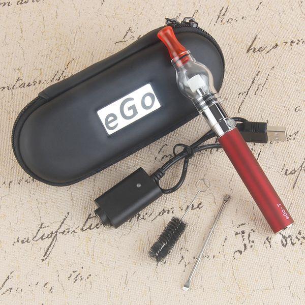 Glass Globe Dome Atomizer Starter Kits Dry Herb Vape Pen Wax Vaporizer Tank EGO T Dab Pens 1100mAh Zipper Carry Case Kit
