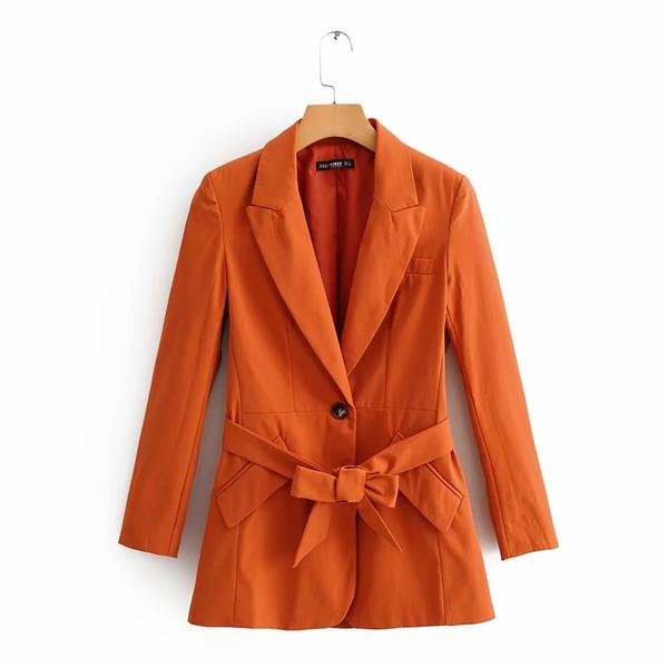 2019 di autunno donne di moda Commuter Cento corrispondenza Cintura Giacca allentati Cuciture solido Colore Arancione