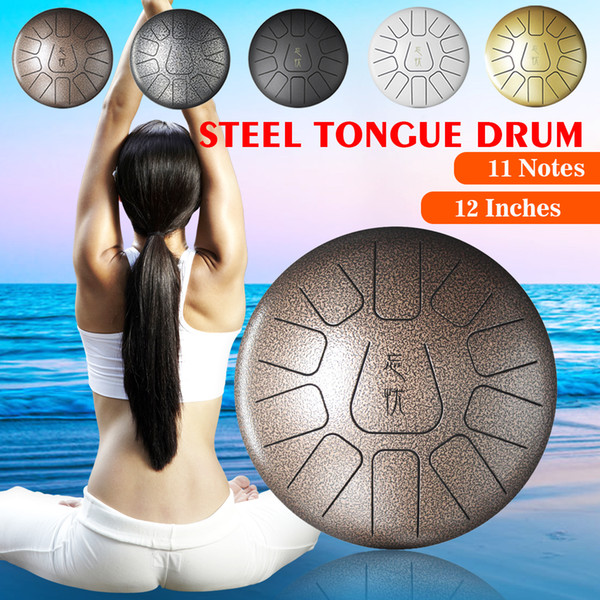 top popular 12Inch Percussion Drum Steel Tongue Drum Hand Pan Drum with Mallets Carry Bags+Note Sticks for Children Music Instrument 2021