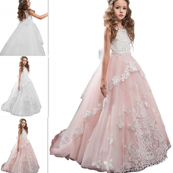 White/Ivory Lace Butterfly Pink Tulle Kids TUTU Flower Girl Dresses Communion Party Princess Gown Bridesmaid Wedding Formal Occasion