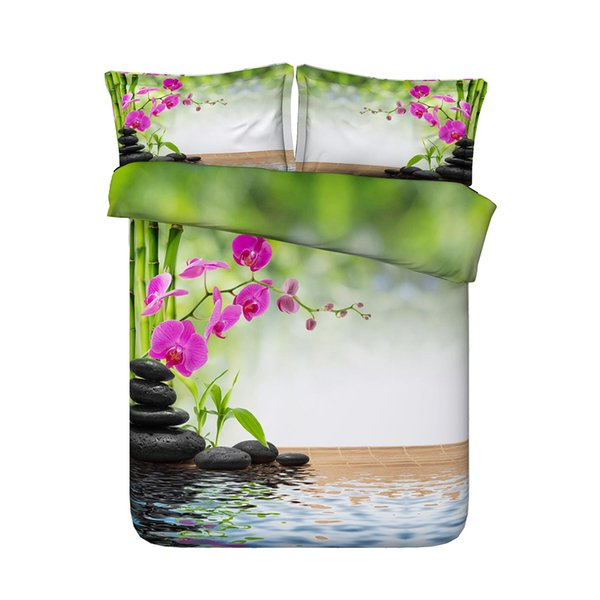Flower Bamboo Forest Duvet Cover Set Plant 3 PC Coverlet With 2 Pillow Shams Green Oriental Bedspread Butterfly Floral Bedding Pink