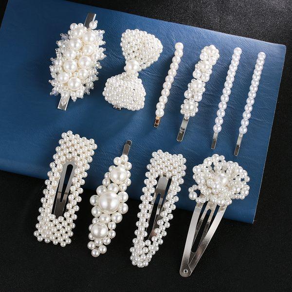 Pince à cheveux perle pour les femmes élégante conception coréenne Snap Barrette Stick épingle à cheveux cheveux Styling Accessoires
