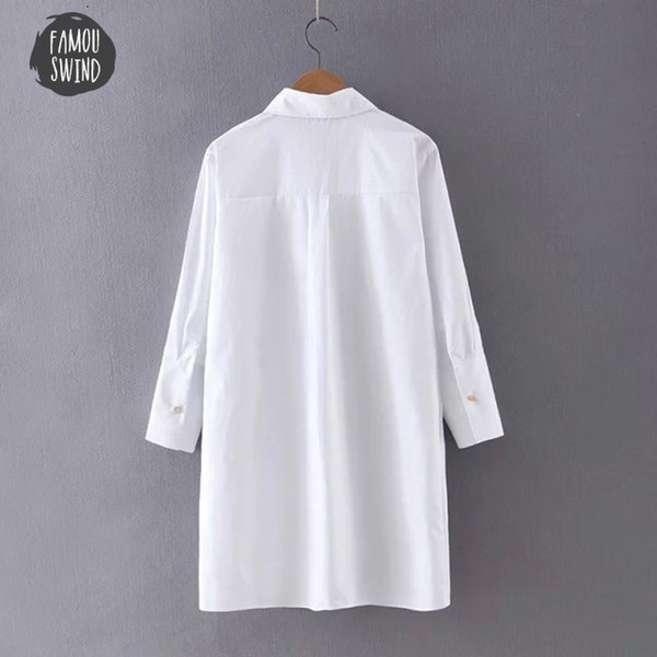 Las mujeres bordadas Bird blusa blanca de manga larga camisas Turn Down collar del soporte de cuello de Primavera Otoño Oficina de Nueva tapa de la manera Mujer