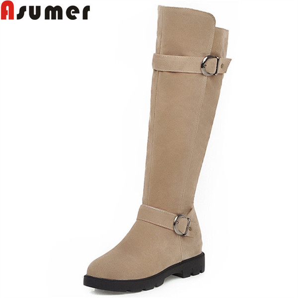 asumer big size 34-43 fashion knee high boots women round toe zip flock med heels autumn winter boots buckle ladies prom