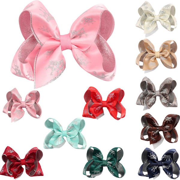 """4"""" Girls Crown Hair Bows With Hair Clips Handmade Double Layers Glitter Bows For Kids Hairgrips Christmas Hair Accessories"""