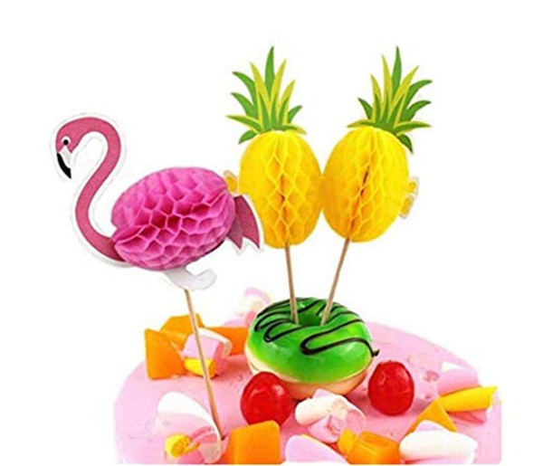10pcs Party Flamingo Decoration Decorative Pineapple Cupcake Topper Picks Party Wedding Cake Decor