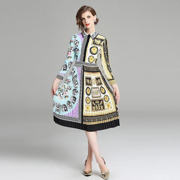 Custom Shirt Dress Women Vintage Casual Pleated Dresses Geometric Print Contrast Color Long Sleeve Trend Design Clothing
