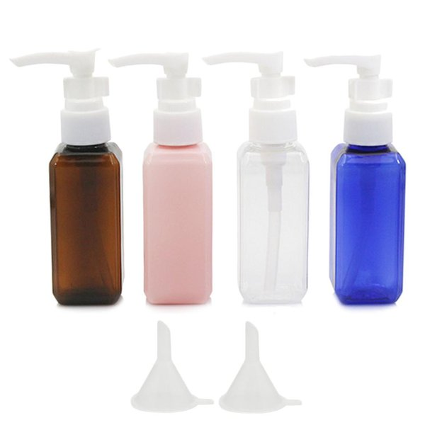 8 PCS 50ml Assorted Colors Plastic Travel Pump Bottles Dispenser Set Lotion Shower Gel Shampoo Container with 2 Small Funnel