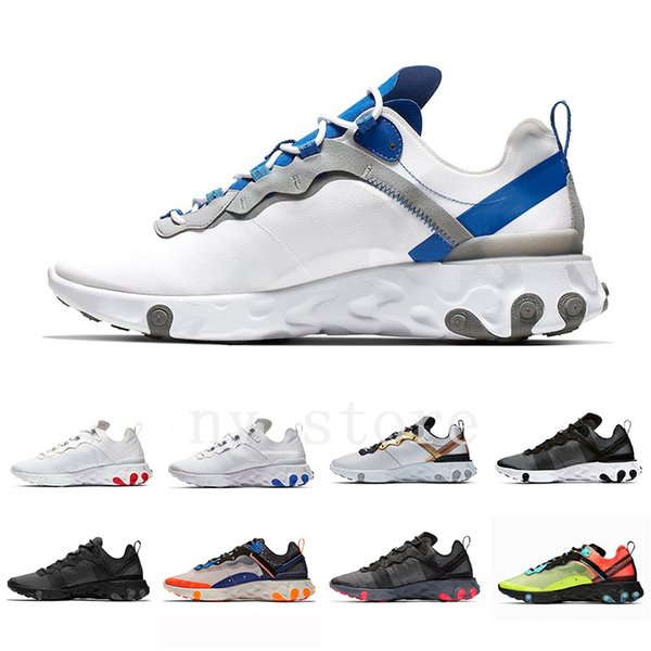 Nike react Element 55  Volt Royal Tint Total Orange React Element 87 Running Shoes For Women men Dark Grey Blue Chill Trainer 87s Sail Sports Sneakers