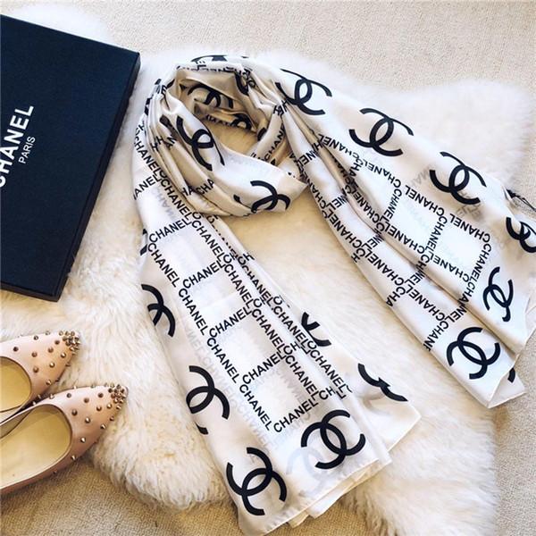 Top Qualtiy Marque Echarpe Lettre Motif Femmes Echarpe Laine Soie Cachemire Designer foulard Châle Dames Warm Scarves