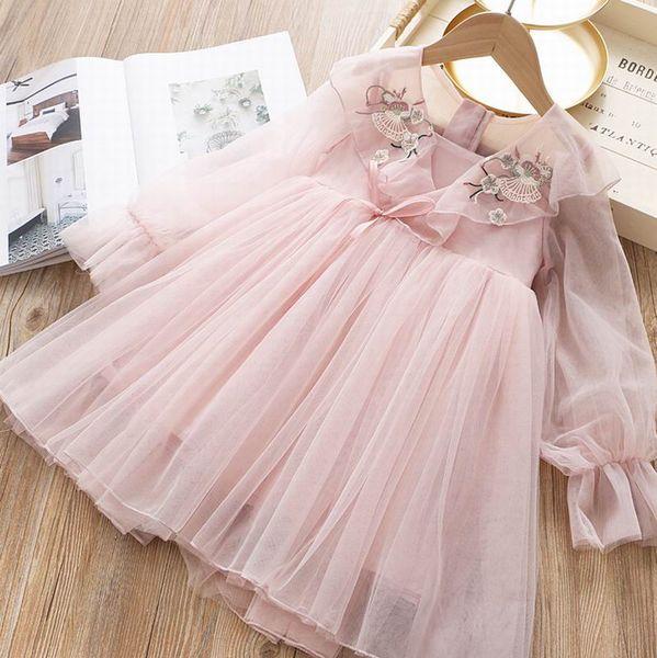Bordado flores al por mayor vestido de la muchacha 2020 resorte de la nueva gasa de manga larga de hadas de vestir ropa de los niños, 2-6 años de E2018