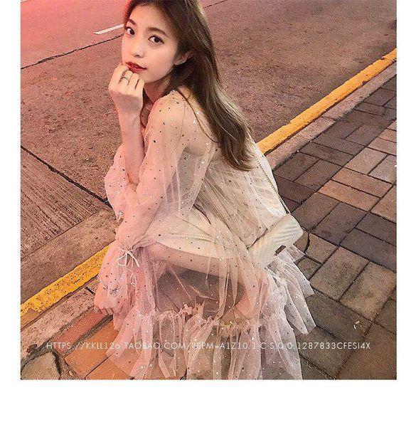 A sister custom 2019 summer new bright bright horn sleeve dress female long gauze perspective fairy skirt