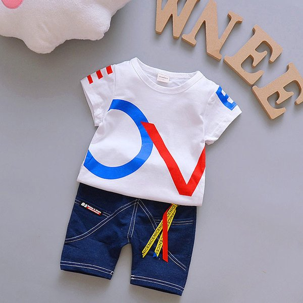 Summer Kids Baby Boys Clothes Sets Fashion High Qulity Short T shirt + Pants Toddler Boy Clothing Casual Kids Outfits Baby