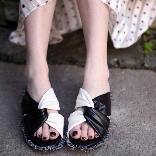 Artmu Original Vintage Fringe Flat Sole Genuine Leather Women Slipper Mixed Colors Roman Sandals Comfortable Handmade Slippers