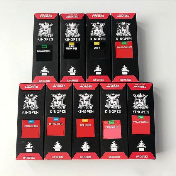 Os mais novos cartuchos Kingpen 710 Vape Embalagem Com Preto Vermelho Sabores Adesivos 0.5ml 1.0ml Vape Cartucho De Cerâmica Vazia Vape Cartucho De Óleo Grosso