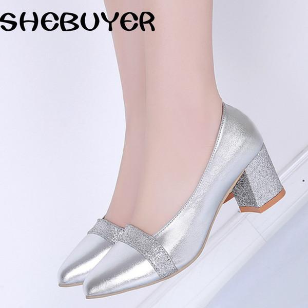 Designer Dress Shoes 2019 primavera moda donna sexy tacchi med donna slip on scarpe a punta pompe Ladies argento oro bling taglia 35-41