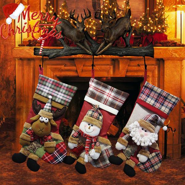 Noel süslemeleri Noel çorap hediye çanta çocuk Noel hediyesi çanta Zarif kardan adam eski geyik desen çorap toptan