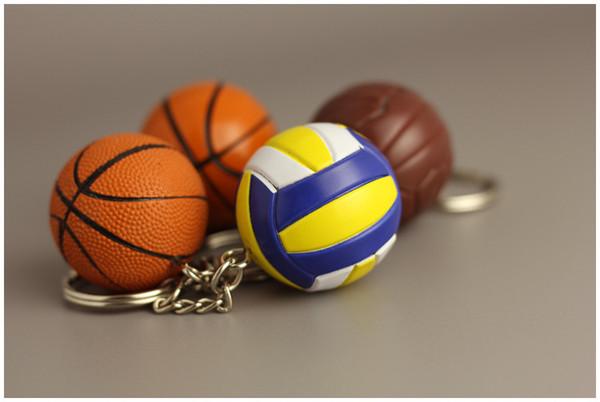 DHL libero Nuovo Mini sfera di pallacanestro Catena chiave Portachiavi creativi Portachiavi sportivi Souvenir Toy Car Hanging Decor 4 Stili Regalo di festa G260Q F