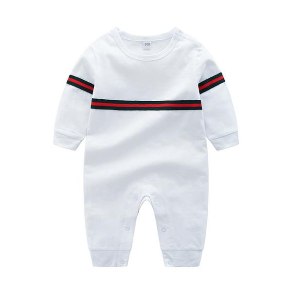 Autumn Newborn Clothes Spring Stripe Long Sleeve Infant Romper Fashion round collar designer Toddler Onesie Boys Jumpsuit Y1601