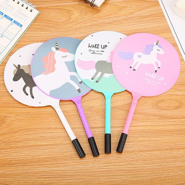 100 Pcs cartoon pony fan pen cute student prize gift fan Ballpoint pen for writing stationery