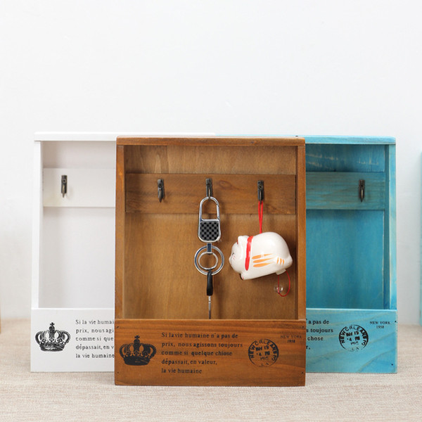 Wooden Keys Storage Box Zakka Retro Hanging Wall Hanger Organizer Sundries Hooks Gift Vintage Home Decor 21.5* 8.5*27.5 cm