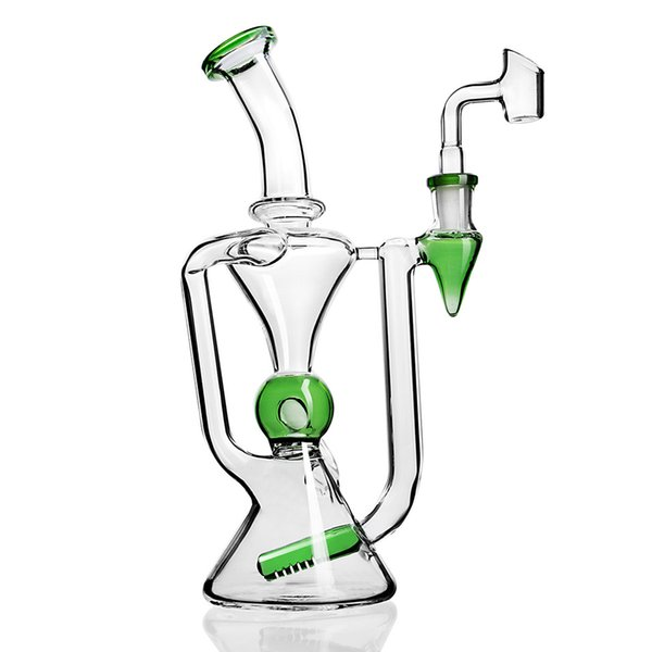 Klein Recycler Bong Glass Water Pipes Heady Glass bongs Dab Rigs Water Bong Chicha Unique Hookahs With 14mm Bowl 9.6 Inchs