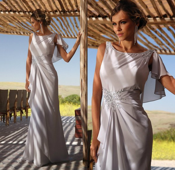 Chic Grey Mother Of The Bride Dresses Jewel Neck Sequins Chiffon Floor Length Plus Size Evening Gowns Custom Made Banquet Dress