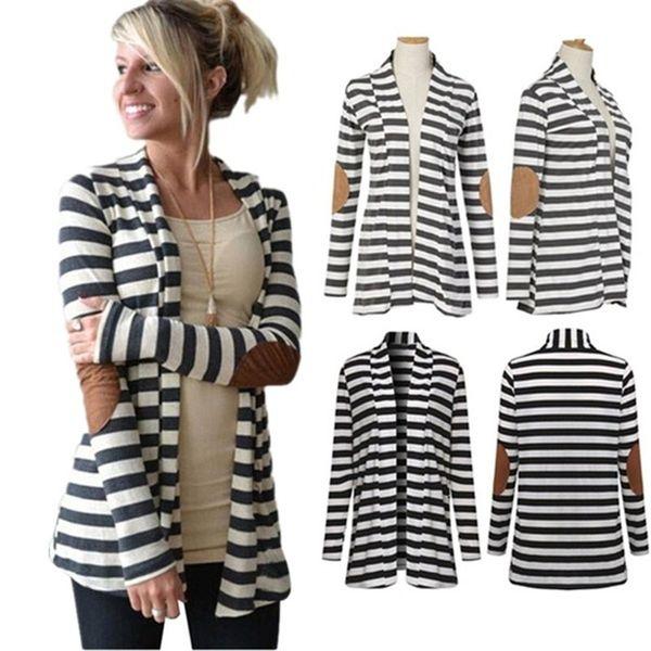 Frauen Strickjacke Herbst-Winter-Jacken arbeiten beiläufige lose lange Hülse Striped Mantel All-Match Oberbekleidung dünne Vintage-Mantel-Jacken-Bluse Tops