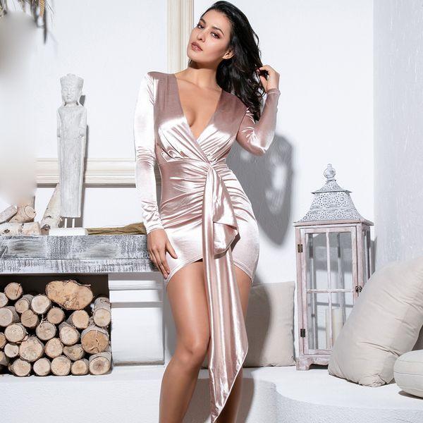 Вечернее платье с V-образным вырезом и декольте без рукавов Bodycon Lm81639 Nude