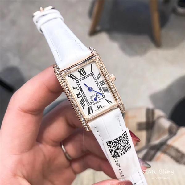Новый стиль женские часы кожаный пояс Часы площади набора Женщины розовое золото Новые женщины леди моды часы подлинные кожаные часы Relojes