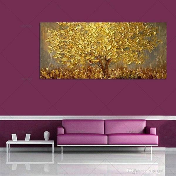 A2x Cuchillo pintado a mano Árbol de oro Pintura al óleo sobre lienzo Paleta grande Pinturas amarillas doradas Moderno Arte abstracto de la pared Imágenes Decoración para el hogar