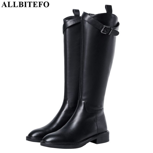 ALLBITEFO PU+ genuine leather comfortable women boots Belt buckle autumn winter Round toe women knee high boots High quality